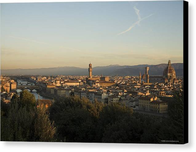 Landscape Canvas Print featuring the photograph Sunrise In Florence by Luigi Barbano BARBANO LLC
