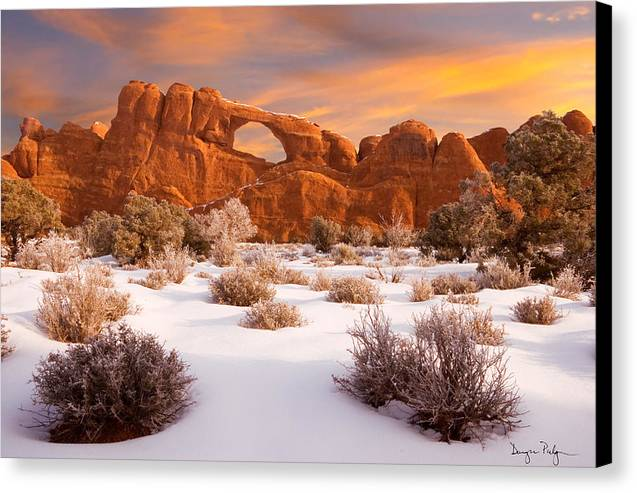 Arches National Park Canvas Print featuring the photograph Winter Dawn At Arches National Park by Douglas Pulsipher