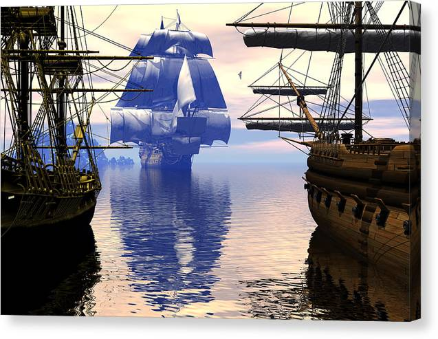 Bryce Canvas Print featuring the digital art Arrival Of The Man-o-war by Claude McCoy