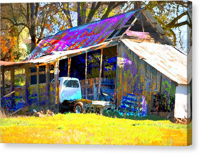 Canvas Print featuring the digital art Barn And Truck by Danielle Stephenson
