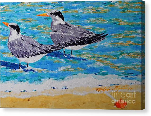 Beach Art Canvas Print featuring the painting South Beach Visitors by Art Mantia