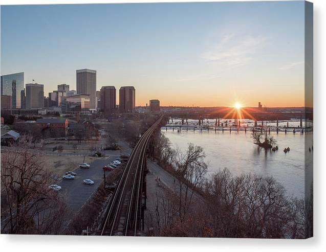 Rva Sunrise Canvas Print featuring the photograph Winter Sunrise Overlooking Richmond Virginia by Doug Ash