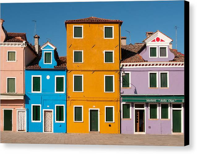 Architecture Canvas Print featuring the photograph Brightly Painted Houses Of Burano by Petr Svarc