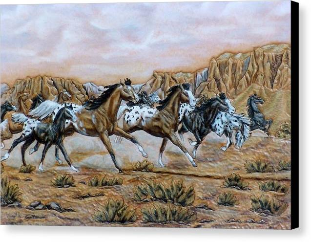 Horses Canvas Print featuring the painting Being Free by Lilly King
