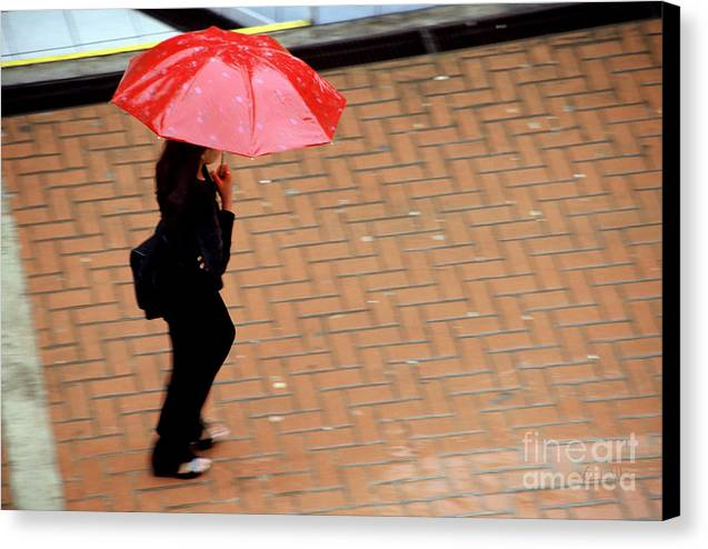 Rain Canvas Print featuring the photograph Red 1 - Umbrellas Series 1 by Carlos Alvim