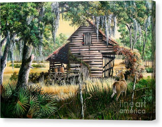 Florida Canvas Print featuring the painting Old Floridaturpentine Barn-a Florida Memory by Daniel Butler