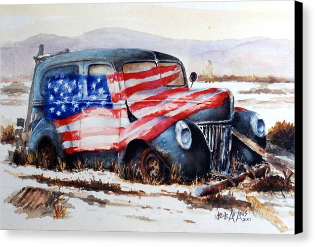 Old Truck Canvas Print featuring the painting Old Glory by Bob Adams