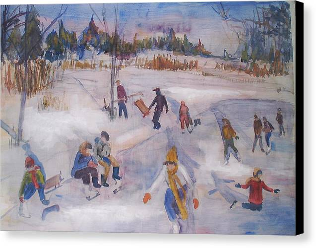 Landscape Canvas Print featuring the painting Pond Eddy Skating by Joyce Kanyuk