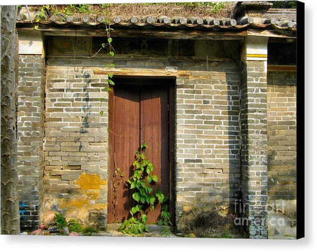 Door Canvas Print featuring the photograph Old Chinese Village Door Series Sixteen by Kathy Daxon