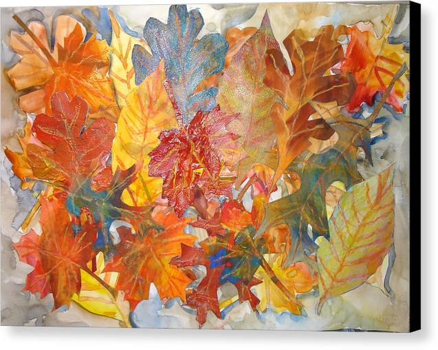 Collage Canvas Print featuring the mixed media autumn Leaves Collage III by Joyce Kanyuk