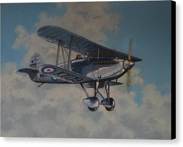 Airplanes Canvas Print featuring the painting Fury II Raf by Murray McLeod