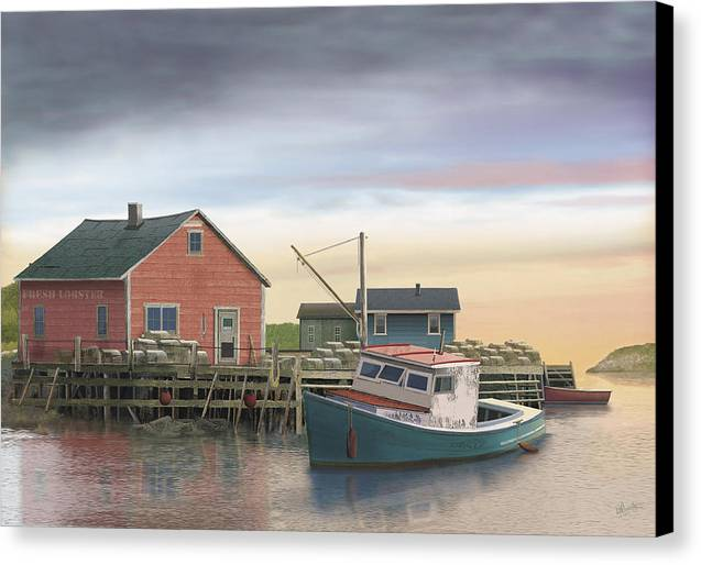 Lobster Fishing Cabin Canvas Print featuring the digital art Bygonedays by Russell Cleversley