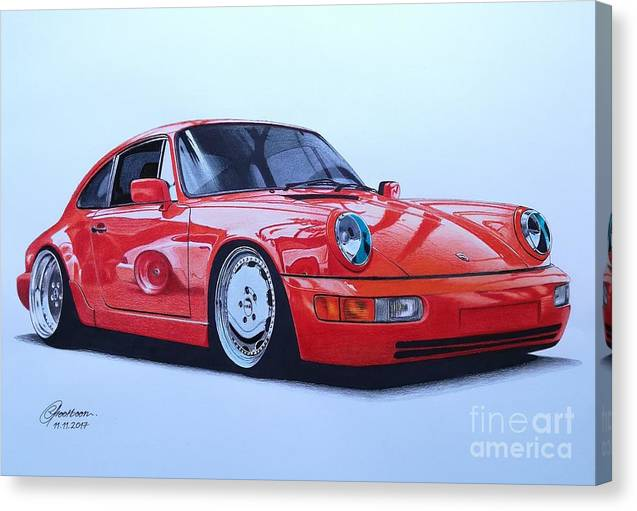 Porsche Canvas Print featuring the drawing Porsche 964 by Lance Grootboom