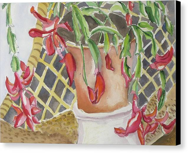 Still Life Canvas Print featuring the painting Christmas Cactus by Kathy Mitchell