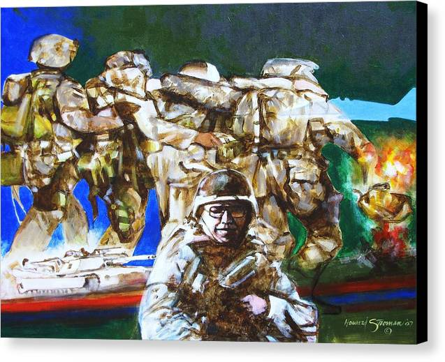 Military In Iraq Canvas Print featuring the painting Med Evac Battle For Fallujah Iraq by Howard Stroman