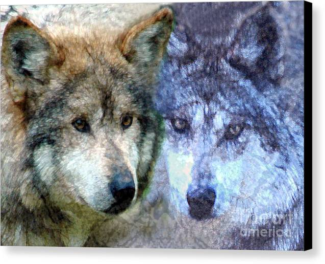 Bbkexperi Canvas Print featuring the digital art Wolves by Tom Romeo