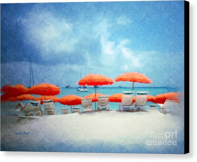 Beach Tropical Seascape Seaside Beach Art Canvas Print featuring the painting A Bit Of Paradise by Carolyn Staut