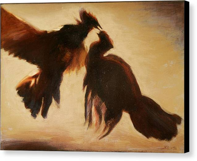 Cock Canvas Print featuring the painting Cock Fight by James LeGros