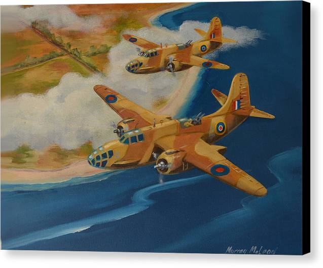 Aviation Art Canvas Print featuring the painting Boston Duo by Murray McLeod
