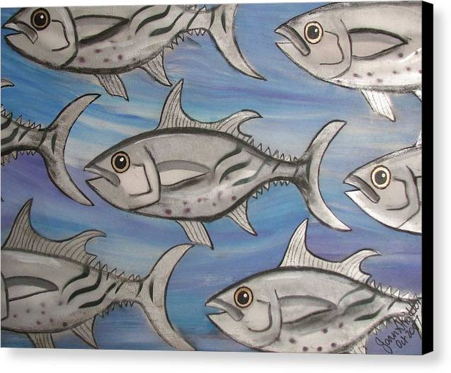 Sea Canvas Print featuring the painting 7 Fish by Joan Stratton