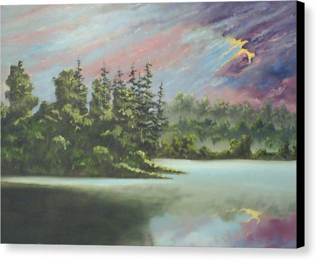 Landscape Canvas Print featuring the painting After The Rain by Dennis Vebert