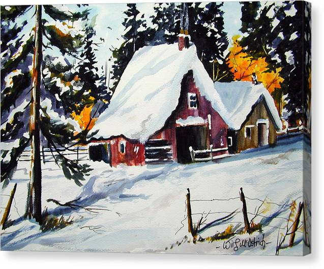 Quebec Sugar Shack At Grand Mere Canvas Print featuring the painting Sugar Shack At Grande Mere by Wilfred McOstrich