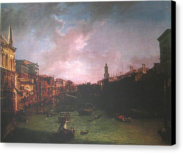 Landscape Canvas Print featuring the painting After Canal Grande Looking Northeast by Hyper - Canaletto