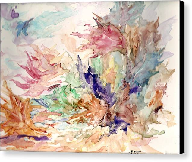 Fall Canvas Print featuring the painting Blowin by Roger Parnow