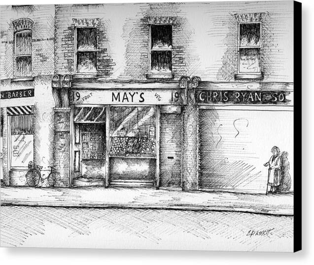 Dublin Streetscape Canvas Print featuring the painting Mays Shop North King Street Dublin 7 by Brendan Lynch