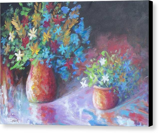 Flowers. Canvas Print featuring the print Reflexions by Carl Lucia