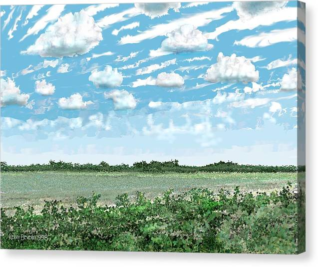 Brazoria Canvas Print featuring the digital art Brazoria County Field by Kerry Beverly
