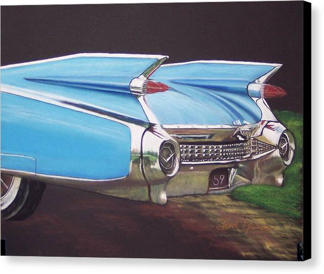 American Classic Car Canvas Print featuring the pastel 1959 Cadillac by Sharon Quarles