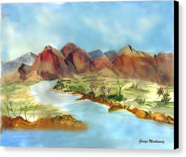 Desert Mountains And Water Canvas Print featuring the print Mountain Range by George Markiewicz