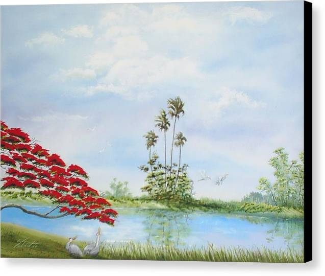 Landscape Canvas Print featuring the painting Red Tree by Dennis Vebert