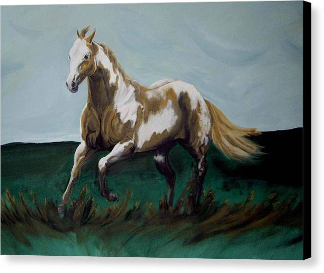 Horse Canvas Print featuring the painting Running Paint by Glenda Smith