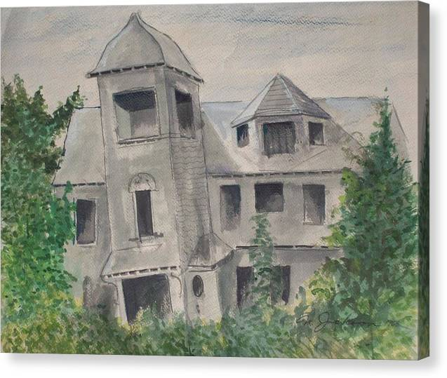 Architecture Canvas Print featuring the painting Ryan's Castle by Norman F Jackson