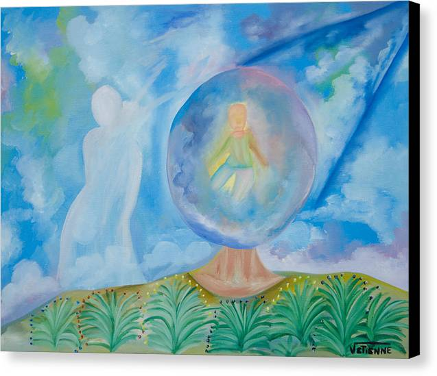 Canvas Print featuring the drawing Spirit Lives Forever by Volmar Etienne