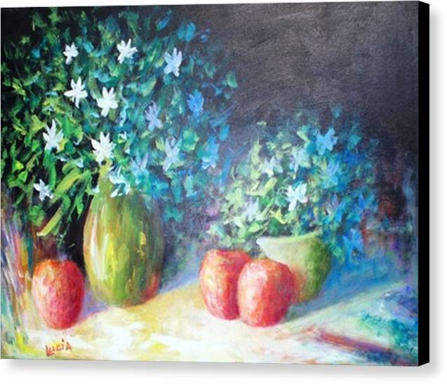 Floral Canvas Print featuring the print Three Apples by Carl Lucia
