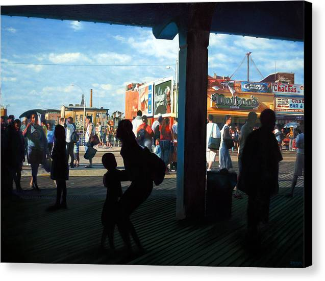 Coney Island Canvas Print featuring the painting Coney Island Stroll by Randy Ford