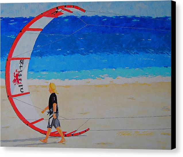 Beach Art Canvas Print featuring the painting Dreamer Disease Vi Water And Wind by Art Mantia