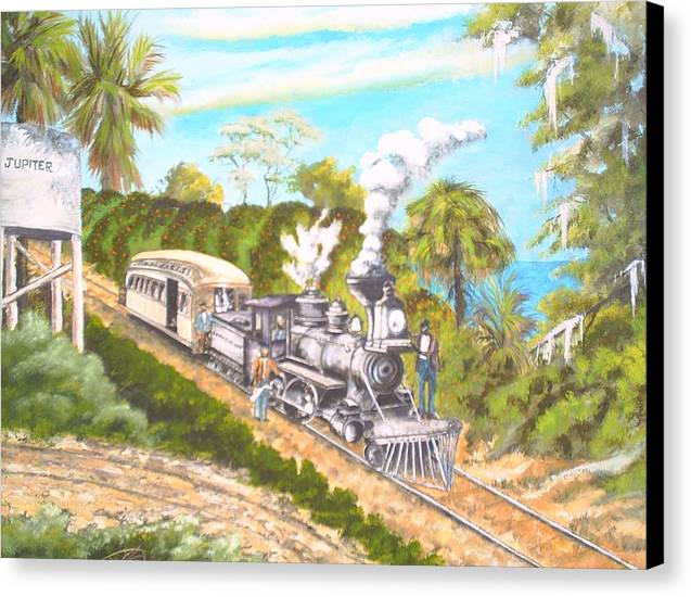 Florida History Canvas Print featuring the painting Lake Worth And Jupiter by Dennis Vebert