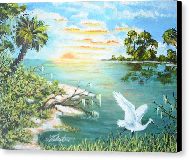Landscape Canvas Print featuring the painting On The Hunt by Dennis Vebert