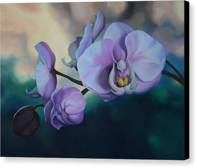 Oil On Canvas Canvas Print featuring the painting Orchid Dew by Michael Vires