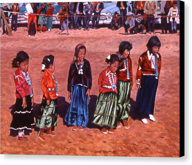 Navajo Indian Southwestern Monument Valley Canvas Print featuring the painting Pretty Maids All by John Watt
