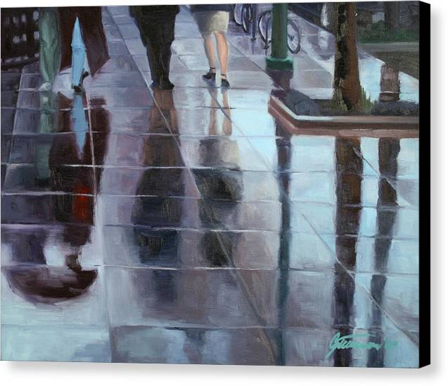 Cityscape Canvas Print featuring the painting Sidewalk Reflections by Guenevere Schwien