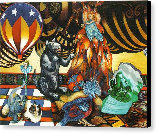 Cats Canvas Print featuring the painting still life with Balloon by Christine McGinnis