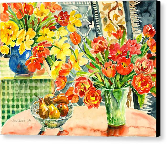 Watercolor Canvas Print featuring the painting Studio Still Life by Alexandra Maria Ethlyn Cheshire