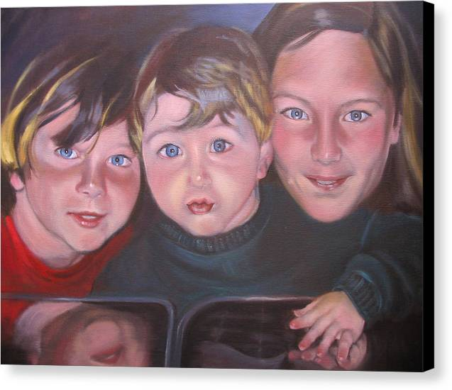Children Portraits Canvas Print featuring the painting The Grandkids by Kaytee Esser