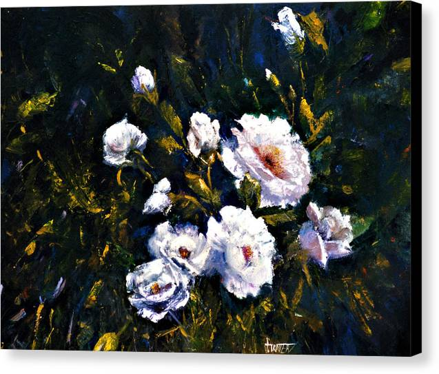 Flowers Canvas Print featuring the painting White Roses by Jimmie Trotter