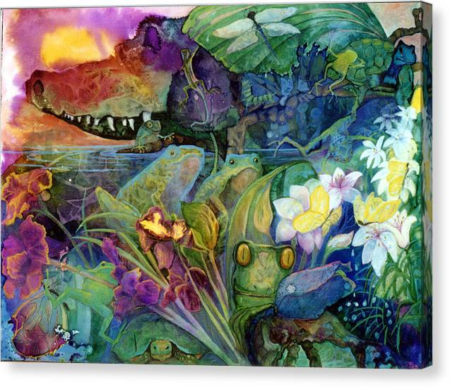 Aligator Canvas Print featuring the painting Bayou Magic by Valerie Aune